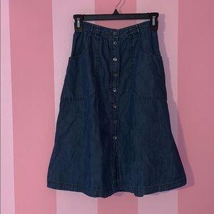 A&F denim button-up midi skirt